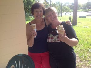 Sheila and Rose with icecream